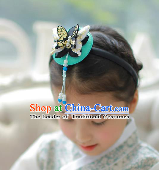 Korean National Hair Accessories Butterfly Blue Hair Clasp, Asian Korean Hanbok Fashion Headwear Headband for Kids