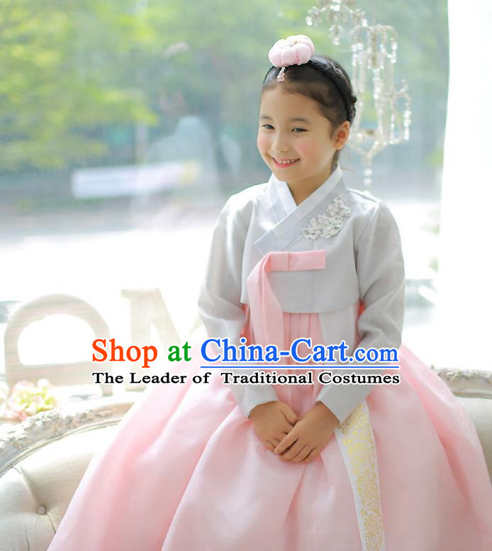 Asian Korean National Handmade Formal Occasions Embroidered Grey Blouse and Pink Dress Palace Hanbok Costume for Kids