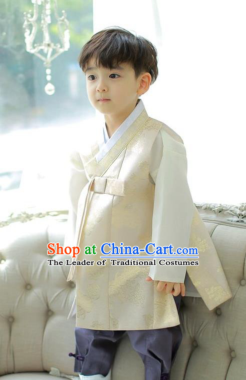Asian Korean National Handmade Formal Occasions Embroidered Palace Prince Beige Hanbok Costume Complete Set for Boys