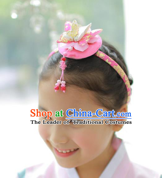 Traditional Korean Hair Accessories Pink Butterfly Hair Clasp, Asian Korean Hanbok Fashion Headwear Headband for Kids