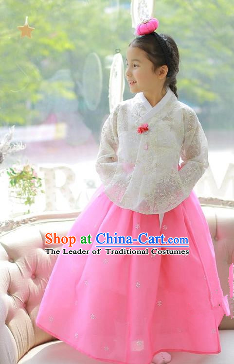 Asian Korean National Handmade Formal Occasions Embroidered White Lace Blouse and Pink Dress Palace Hanbok Costume for Kids