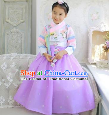 Asian Korean National Handmade Formal Occasions Embroidered White Blouse and Purple Dress Palace Hanbok Costume for Kids