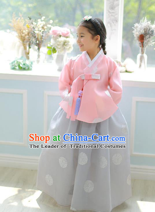 Asian Korean National Handmade Formal Occasions Embroidered Pink Blouse and Grey Dress Palace Hanbok Costume for Kids