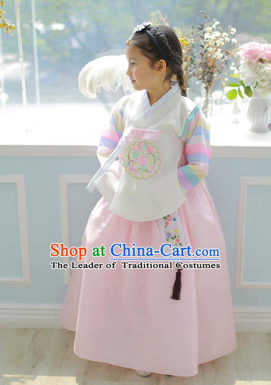 Asian Korean National Handmade Formal Occasions Embroidered White Blouse and Pink Dress Palace Hanbok Costume for Kids