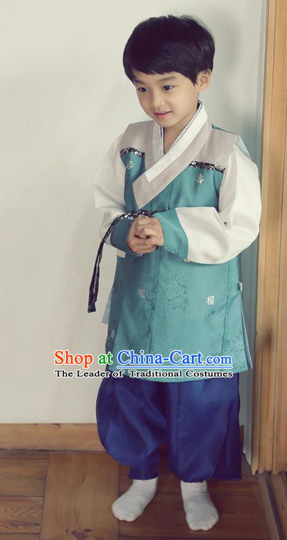 Asian Korean National Handmade Formal Occasions Embroidered Palace Prince Dark Green Hanbok Costume Complete Set for Boys