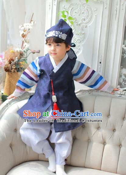 Asian Korean National Handmade Formal Occasions Embroidered Palace Prince Navy Hanbok Costume Complete Set for Boys