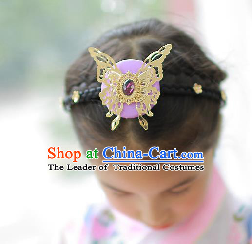Korean National Hair Accessories Butterfly Purple Hair Clasp, Asian Korean Hanbok Fashion Headwear Headband for Kids