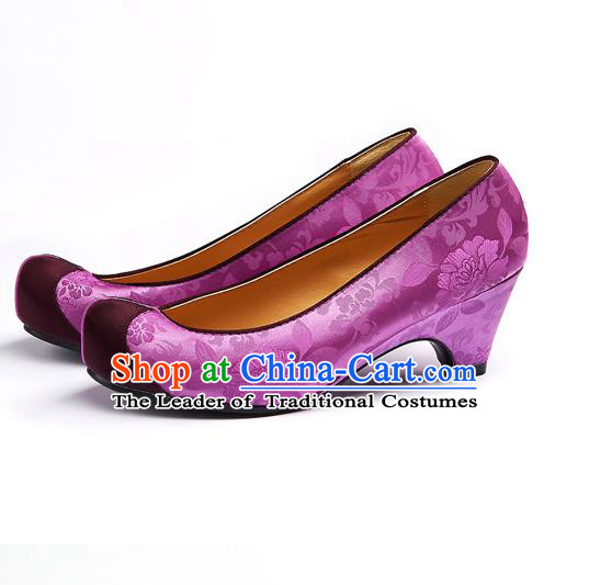 Traditional Korean National Wedding Embroidered Purple Shoes, Asian Korean Hanbok Bride Embroidery Satin Shoes for Women