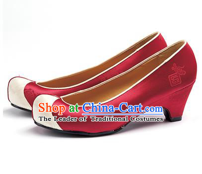 Traditional Korean National Wedding Red Embroidered Shoes, Asian Korean Hanbok Bride Embroidery Satin High-heeled Shoes for Women