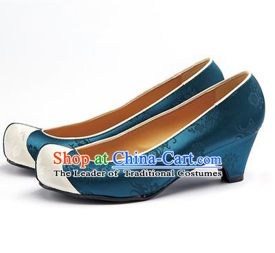 Traditional Korean National Wedding Peacock Blue Embroidered Shoes, Asian Korean Hanbok Bride Embroidery Satin High-heeled Shoes for Women