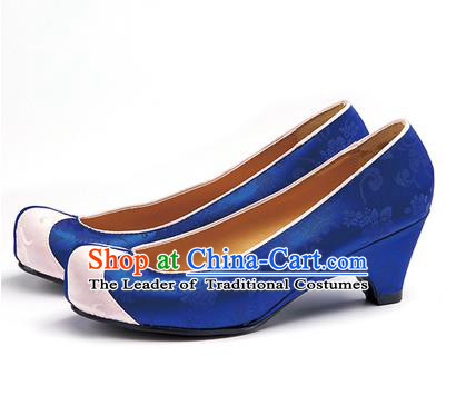 Traditional Korean National Wedding Deep Blue Embroidered Shoes, Asian Korean Hanbok Bride Embroidery Satin High-heeled Shoes for Women