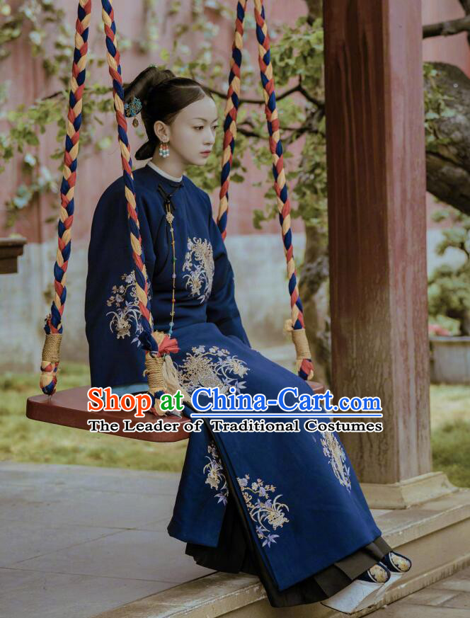 Story of Yanxi Palace Traditional Chinese Qing Dynasty Imperial Consort Costume, Asian China Ancient Manchu Imperial Concubine Embroidered Clothing for Women