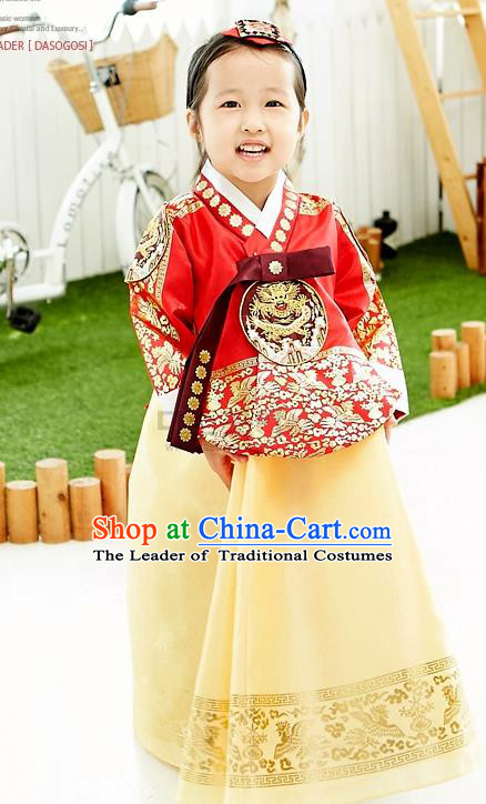 Asian Korean National Handmade Formal Occasions Wedding Embroidered Red Blouse and Yellow Dress Traditional Palace Hanbok Costume for Kids