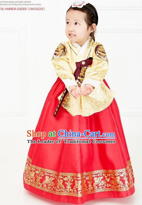 Asian Korean National Handmade Formal Occasions Wedding Embroidered Yellow Blouse and Red Dress Traditional Palace Hanbok Costume for Kids