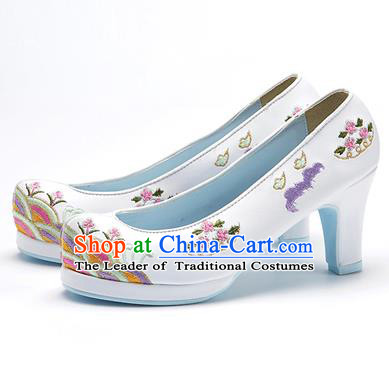 Traditional Korean National Wedding Embroidered Shoes, Asian Korean Hanbok Bride Embroidery White High-heeled Shoes for Women