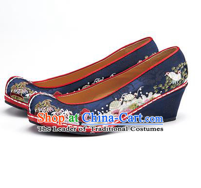 Traditional Korean National Wedding Shoes Embroidered Shoes, Asian Korean Hanbok Embroidery Navy Bride Court Shoes for Women