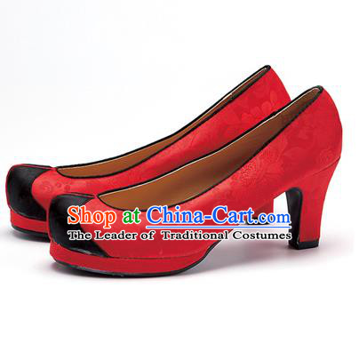 Traditional Korean National Wedding Shoes Red Embroidered Shoes, Asian Korean Hanbok High-heeled Court Shoes for Women