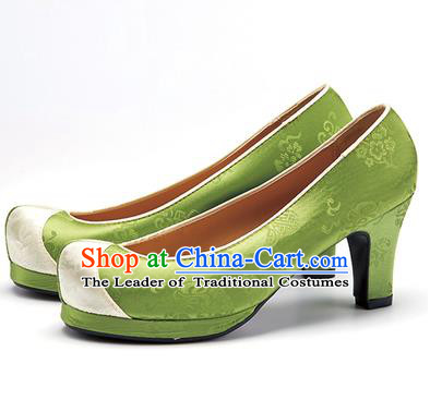 Traditional Korean National Wedding Shoes Green Embroidered Shoes, Asian Korean Hanbok High-heeled Court Shoes for Women
