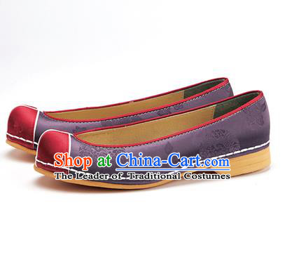 Traditional Korean National Wedding Shoes Purple Embroidered Shoes, Asian Korean Hanbok Flat Shoes for Women