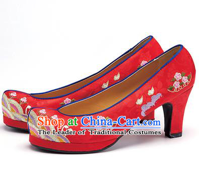 Traditional Korean National Wedding Embroidered Shoes, Asian Korean Hanbok Bride Embroidery Red High-heeled Shoes for Women