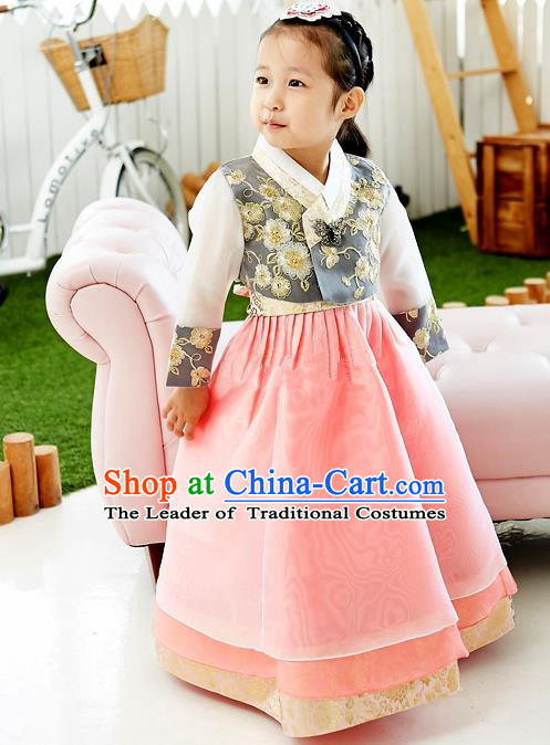 Asian Korean National Handmade Formal Occasions Wedding Embroidered Black Blouse and Pink Dress Traditional Palace Hanbok Costume for Kids
