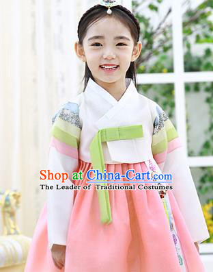 Asian Korean National Handmade Formal Occasions Wedding Embroidered White Blouse and Pink Dress Traditional Palace Hanbok Costume for Kids