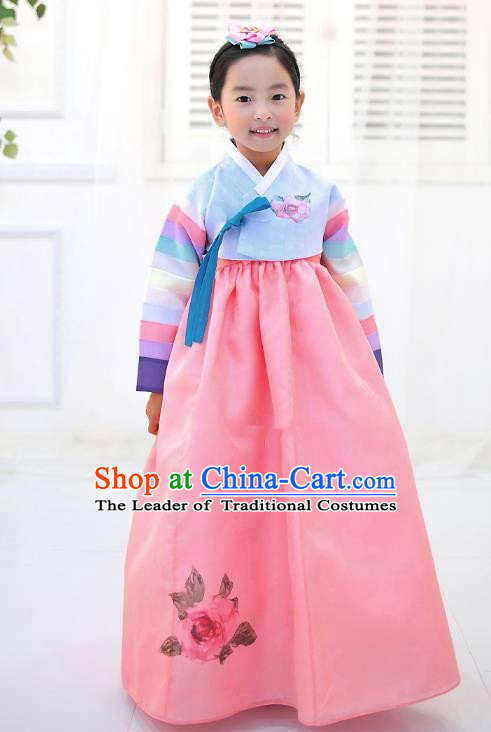Asian Korean National Handmade Formal Occasions Wedding Embroidered Blue Blouse and Pink Dress Traditional Palace Hanbok Costume for Kids