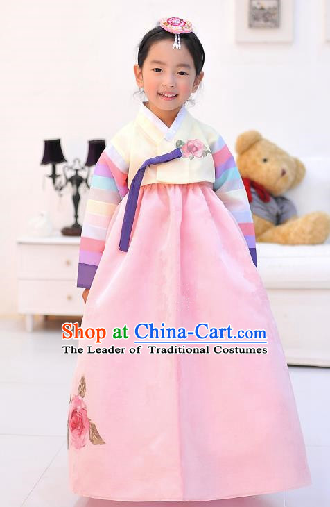 Asian Korean National Handmade Formal Occasions Wedding Embroidered Beige Blouse and Pink Dress Traditional Palace Hanbok Costume for Kids