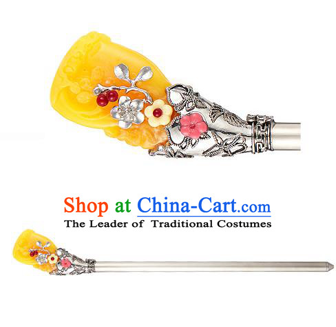 Traditional Korean Hair Accessories Bride Wedding Yellow Hairpins, Asian Korean Hanbok Fashion Palace Headwear Hair Stick for Women