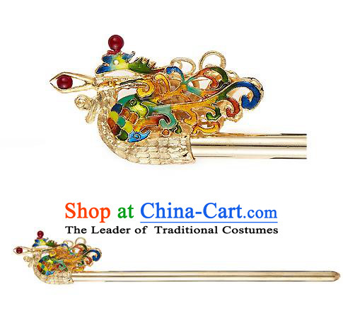 Traditional Korean Hair Accessories Bride Wedding Phoenix Hairpins, Asian Korean Hanbok Fashion Palace Headwear Hair Stick for Women