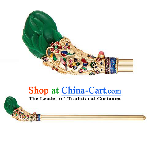 Traditional Korean Hair Accessories Bride Wedding Green Hairpins, Asian Korean Hanbok Fashion Palace Headwear Hair Stick for Women