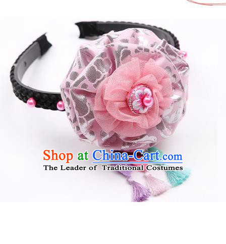 Traditional Korean Hair Accessories Pink Silk Flower Hair Clasp, Asian Korean Hanbok Fashion Headwear Headband for Kids