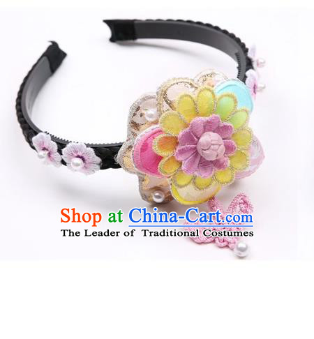 Traditional Korean Hair Accessories Pink Hair Clasp, Asian Korean Hanbok Fashion Headwear Headband for Kids
