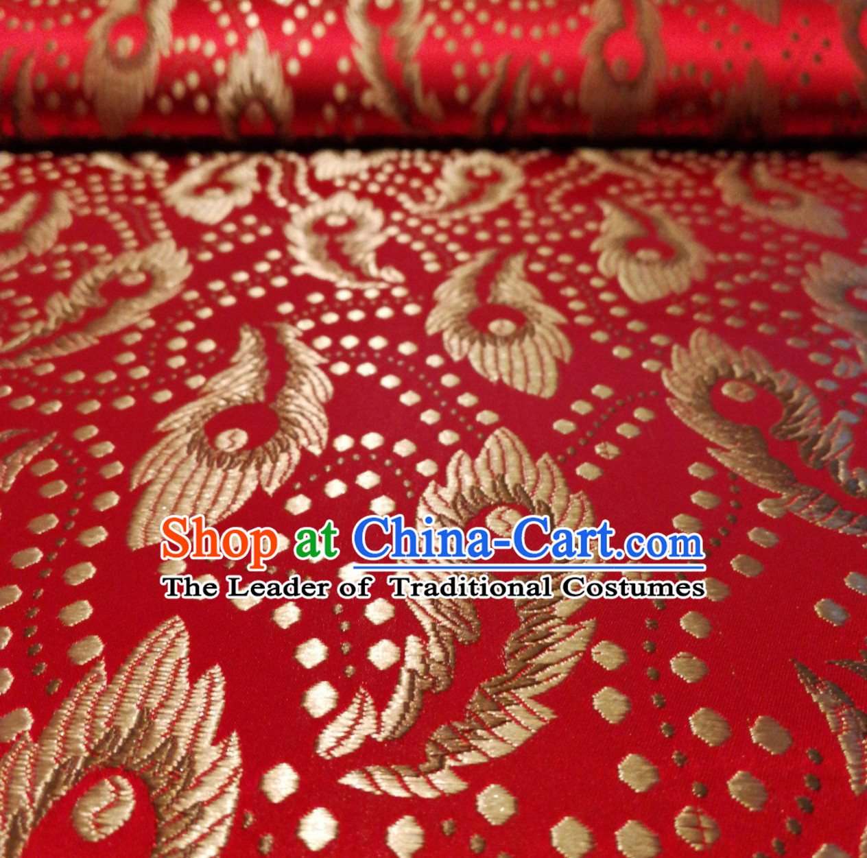 Royal Red Color Chinese Royal Palace Style Traditional Pattern Design Brocade Fabric Silk Fabric Chinese Fabric Asian Material