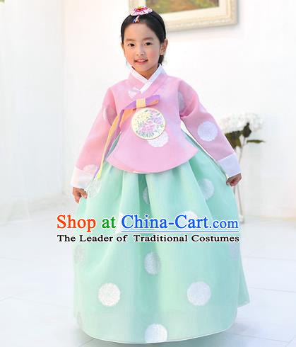 Asian Korean National Handmade Formal Occasions Wedding Printing Pink Blouse and Green Dress Traditional Palace Hanbok Costume for Kids
