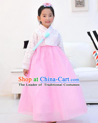 Asian Korean National Handmade Formal Occasions Wedding Embroidered White Lace Blouse and Pink Dress Traditional Palace Hanbok Costume for Kids