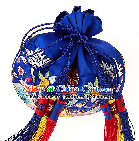 Traditional Korean Accessories Palace Princess Embroidered Blue Tassel Purse, Asian Korean Fashion Lucky Bag for Kids