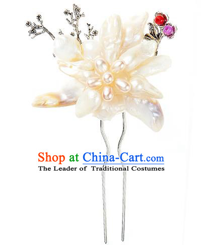 Traditional Korean National Wedding Hair Accessories Bride Palace Cyphers Pearls Flower Hairpins, Korean Hanbok Fashion Hair Stick Headwear for Women