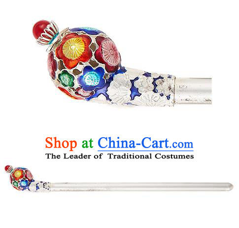 Traditional Korean National Wedding Hair Accessories Bride Palace Cyphers Blueing Hairpins, Korean Hanbok Fashion Hair Stick Headwear for Women