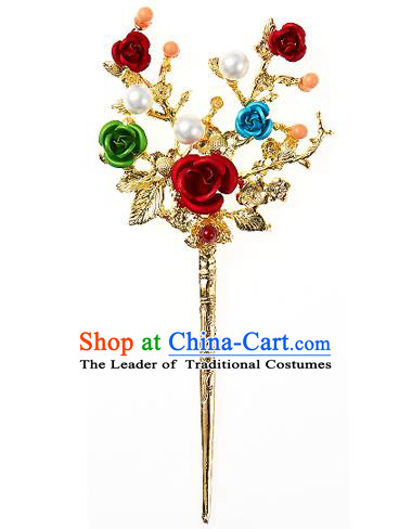 Traditional Korean National Wedding Hair Accessories Bride Palace Cyphers Rose Golden Hairpins, Korean Hanbok Fashion Hair Stick Headwear for Women