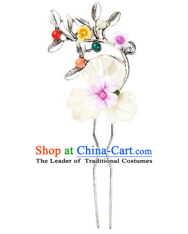 Traditional Korean National Wedding Hair Accessories Bride Palace Cyphers Shell Flowers Hairpins, Korean Hanbok Fashion Hair Stick Headwear for Women