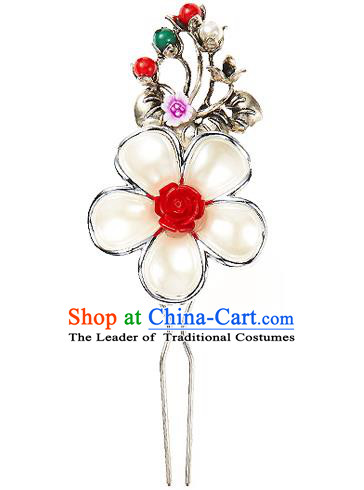 Traditional Korean National Wedding Hair Accessories Bride Palace Cyphers Pearls Flowers Hairpins, Korean Hanbok Fashion Hair Stick Headwear for Women