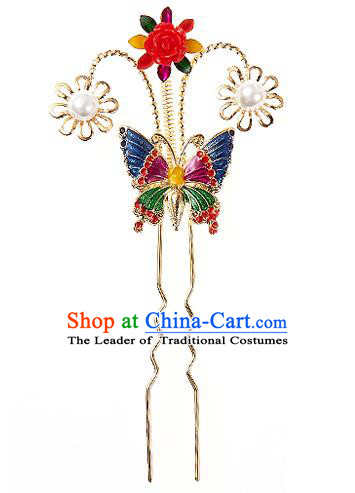Traditional Korean National Wedding Hair Accessories Bride Palace Cyphers Blueing Butterfly Pearls Hairpins, Korean Hanbok Fashion Hair Stick Headwear for Women