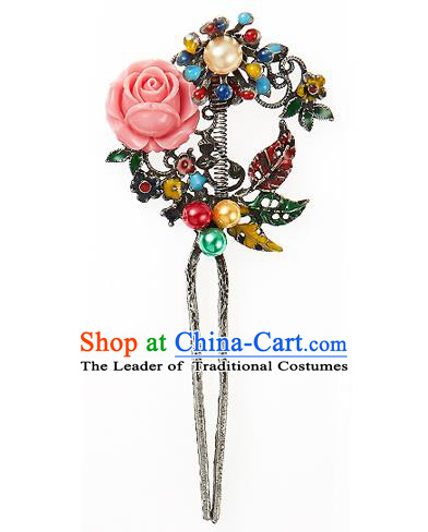 Traditional Korean National Wedding Hair Accessories Bride Palace Cyphers Pink Rose Hairpins, Korean Hanbok Fashion Hair Stick Headwear for Women
