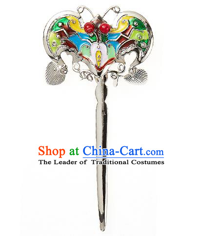 Traditional Korean National Wedding Hair Accessories Bride Palace Cyphers Blueing Bat Hairpins, Korean Hanbok Fashion Hair Stick Headwear for Women