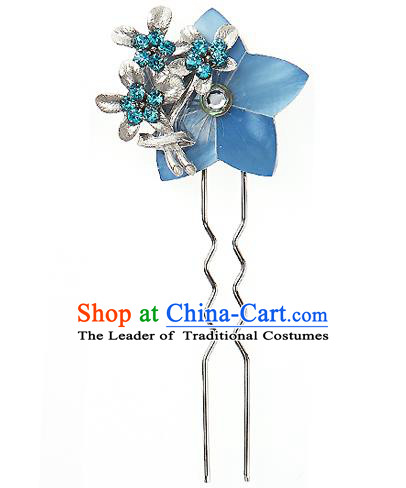 Traditional Korean National Wedding Hair Accessories Bride Palace Cyphers Blue Flower Crystal Hairpins, Korean Hanbok Fashion Hair Stick Headwear for Women