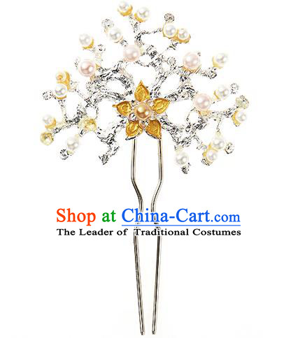 Traditional Korean National Wedding Hair Accessories Bride Palace Cyphers Yellow Flower Pearls Crystal Hairpins, Korean Hanbok Fashion Hair Stick Headwear for Women