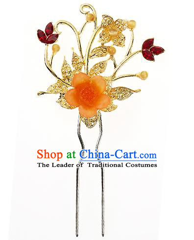 Traditional Korean National Wedding Hair Accessories Bride Palace Cyphers Orange Flower Crystal Hairpins, Korean Hanbok Fashion Hair Stick Headwear for Women