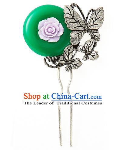 Traditional Korean National Wedding Hair Accessories Bride Palace Cyphers Butterfly Green Hairpins, Korean Hanbok Fashion Hair Stick Headwear for Women
