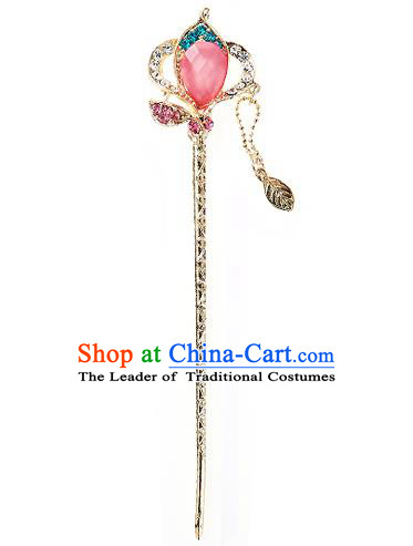 Traditional Korean National Wedding Hair Accessories Bride Palace Cyphers Pink Crystal Tassel Hairpins, Korean Hanbok Fashion Hair Stick Headwear for Women